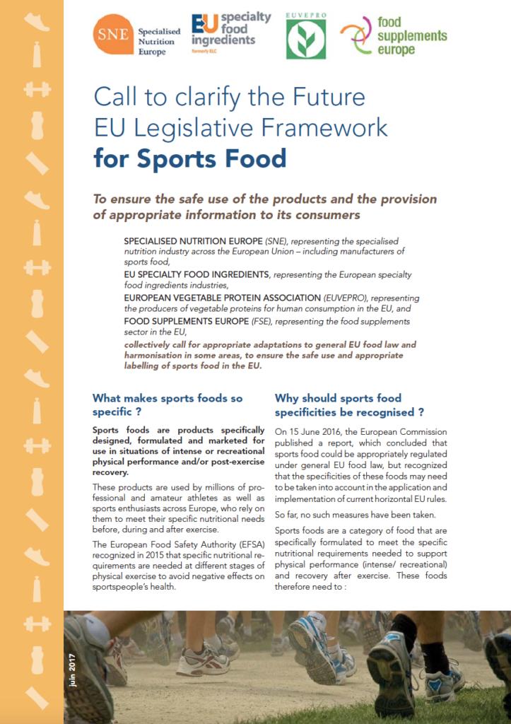 Call to clarify the Future EU Legislative Framework for Sports Food