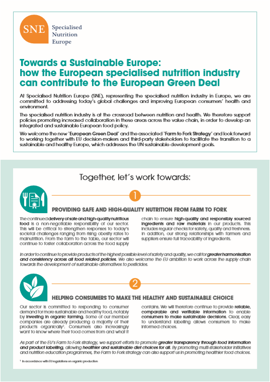 The specialised nutrition industry presents its vision for a Sustainable Europe